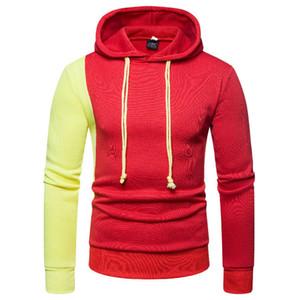 هوديس الرجال 2018 العلامة التجارية ذكر كم طويل اللون المرقعة مقنع البلوز هوديي رجالي رياضية العرق معطف عارضة هوديس M-2XL
