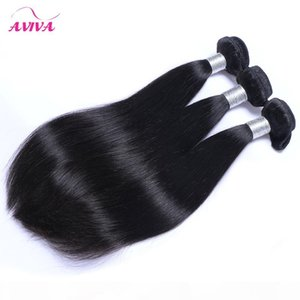 Brazilian Peruvian Malaysian Indian Straight Virgin Hair Weaves Bundles Unprocessed Remy Human Hair Extensions 3 4 Pcs Natural Black Dyeable