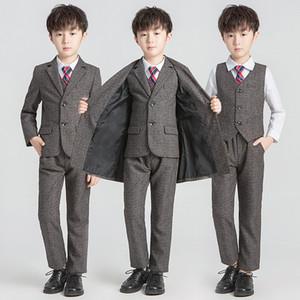Fashion Boys Formal Wedding Suit Set Kids Solid Wind Coat Blazer Vest Pants Clothing Set Children Party Tuxedo Ceremony Costume