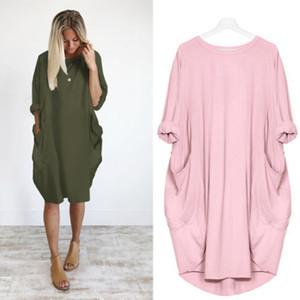 المرأة اللباس موضة جيب فضفاضة اللباس السيدات الرقبة الطاقم عارضة زائد حجم طويل المرأة بلايز فستان كلاسيكي زائد الحجم آسيا S-5XL