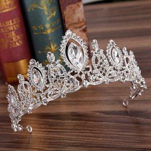 YOUFIR moda estilos europeos plata pelo joyería cristal Tiaras y coronas para novia boda mujeres hecho a mano accesorios para el cabello