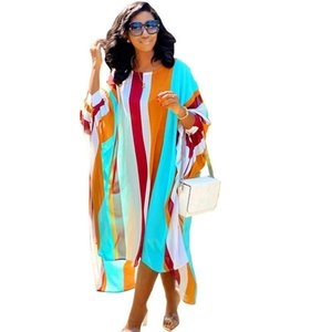 Kadın Moda Stil Giyim Çizgili Womens Baskı Tasarımcı Elbise Gevşek şifon Düzensiz Kadın Elbise Günlük