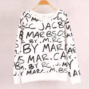 Femininos Primavera e Outono Carta Imprimir camisola de manga longa Designer de luxo velo Top T-shirt das mulheres com capuz