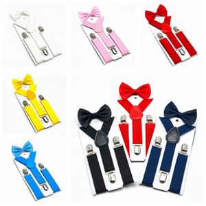 Kids Suspenders Bow Tie Set 7 Colors Boys Girls Braces Elastic Y-Suspenders with Bow Tie Fashion Belt or Children Baby Kids HHA461