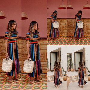 Новый женский летний бохо с коротким рукавом длинные макси платье партии пляж сарафан богемный свободные полосатые длина лодыжки
