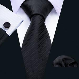 Быстрая доставка шелковые связи для мужчин черный сплошной жаккард сплетенный с платком и манжетами оптом мода свадьба свадьба доставка N-5089