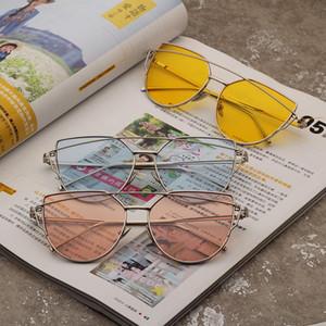 Moda Kadın Kedi Göz Güneş gözlüğü Retro Erkekler Metal Çerçeve Sürüş Sport Gözlükler Açık Lady Seyahat Plaj Gözlük TTA-1133
