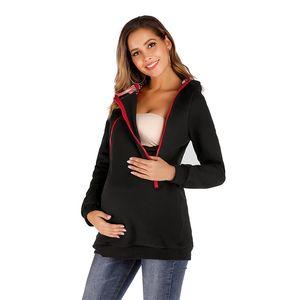 Hoodie Casual Maternidade Mãe Canguru com zíper com capuz Brasão Womens Roupa Cotton Sólidos Womens Long Sleeve Tops Casacos