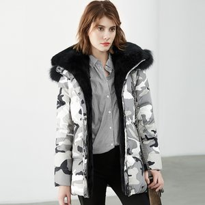 Hooded Winter Down Woman Real Fur Collar Plus Size Camouflage Gray Female Jacket Coat Casacas Para Mujer KJ540