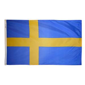 Продвижение 3X5FT Швеция Флаги и баннеры 150X90cm Большой цифровой печатной национальной Висячие 100D Polyester, перевозка груза падения