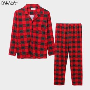 DANALA Man Pamuk Noel Ekose Çift Pijama Takımları Turn-Aşağı Yaka Uzun Kollu Pijama Ev Suits
