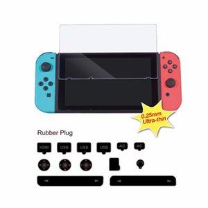 Game Console Accessory Set Dustproof Kit + Hardness Tempered Glass Screen Protective Film For Nintend Switch NS Console