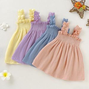 2020 Marca Lovley infante neonate principessa Dress Solid Pieghe senza maniche di spettacolo Sling Tutu cotone dei vestiti abiti di lino