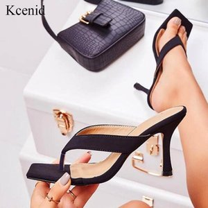 Kcenid Модные квадратного носок на высоких каблуках мулы Thong сандалии для ботинок женщин шлепков черных женских тапочек летних туфель размера 41 42