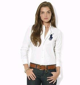 Новый роскошный поло старший дизайнер ЖЕНСКАЯ рубашка с длинными рукавами в стиле джинсовой рубашки поло на rahpl ла рубашки синий белый серый WOMENS Parkas