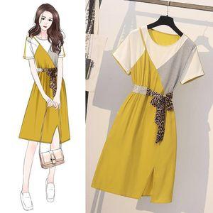 TiLeewon neues Kleid Ankunfts-Patchwork beiläufige Strand-Kleid gerade Art elastische Taillen-Frauen-Sommer-2XL