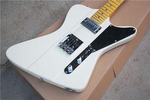 Weiß E-Gitarre mit schwarzem Schlagbrett, Retro gelben Ahorn Hals, Chrom Hardware, Offering Kundenspezifische Leistungen