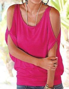 Casual Tshirts Summer Women Short designer Sleeved Loose Candy Color Batwing Short Sleeved Open Cold Shoulder Top Fashion Clot