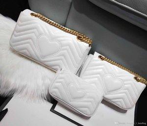 bolso de diseño clásico de lujo de alta calidad bolsa de la cadena bandolera onda de amor bolso de la manera V de mensajero de las mujeres de cuero