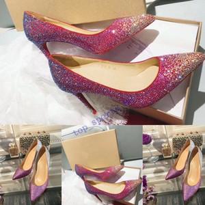 2019 Ücretsiz nakliye moda kadın ayakkabı Glitter Noktası ayak ince topuklu payetli Yüksek Topuklar Kadınlar büyüklüğü 35-45 İçin Stilettos Ayakkabı