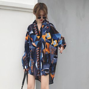 [Deat] 2018 Autunno nuovo modo gira giù allentato Stampa manica lunga stampata camicia lunga delle donne Formato camicetta Famle libero Wb024 Q190416