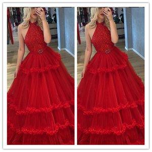 Halter Prom Dresses Modest Lace Appliqued Vestido Partido Pageant Vestidos Especial Ocasião Vestido com Belt Dubai vestes de soire