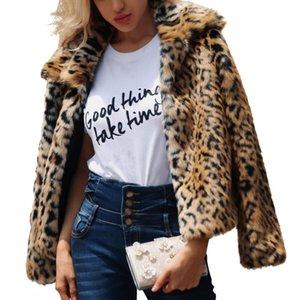 Сексуальная Leopard Печати Куртка Мода Европейский Искусственного Меха Лацкан Зимнее Пальто Jaket Женская Одежда Новый С Длинным Рукавом Верхняя Одежда B139