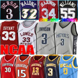 NCAA Allen Iverson Jersey 3 0 3 Dwyane Wade Westbrook Jason Williams jerseys 55 34 32 Olajuwon Malone baloncesto de la universidad de Georgetown Hoyas