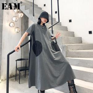 [EAM] Frauen Dot Pinrted Zurück Plissee Big Size Kleid Neuer Rundhals Kurzarm Loose Fit Fashion Tide Frühling Sommer 2020 1T459