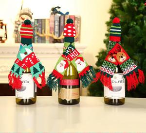 Bottiglia di vino di natale Copertina Christmas Knitting Winebottle Cappelli su deficit Santa Snowman ricamato sciarpa del cappello delle decorazioni di Natale del regalo del partito WY46Q