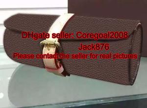 3 RELOJ CASE M43385 BOX para hombre diseñador mujeres bolsa relojes accesorios de viaje adornos de cuero N41137 M47530 M32609 5 colores m32719 negro