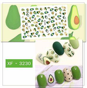Nail Stickers Set 3D auto-adhésif autocollants Avocado Cactus Daisy Fruits Feuilles décalques pour Femmes Filles Salon Enfants bricolage ongles manucure Astuce Foil