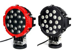 7 Inch 51w Car Round Led Work Light 12v High -Power 17 X 3w Spot For 4x4 Offroad Truck Tractor Driving Fog Lamp