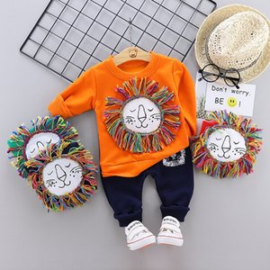 2020 male baby cotton long sleeve sweater suit autumn lion head printed sweater two-piece set