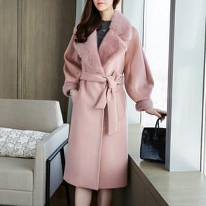 Kış Kadın Coats 2019 Sonbahar ve Kış Yeni Bayanlar Yün Coat Pembe Kürk Yaka Uzun Yün Coat Kadın