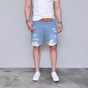 Brevi jeans strappati casual Via Distressed Pantaloncini Fori Designer Estate Shorts Mens Light Blue