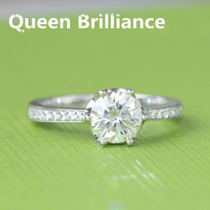 Queen Brilliance Genuine 18k 585 White Gold 1 CT DEF Color Engagement Wedding Lab Grown Moissanite Diamond Ring For Women 17903