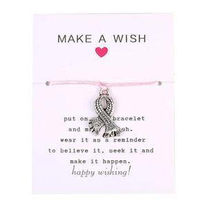Новое прибытие Breast Cancer Awareness браслет для женщин ручной плетеный Розовый Rope Chain Урожай Серебряный браслет кулон ювелирные изделия