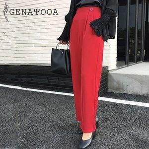 Genayooa Casual Yaz Suit Pantolon Artı boyutu Ofis Lady Pantolon Kadınlar Pantolon Gevşek 2020 Büyük Boy Kore Şık büyük Bacak