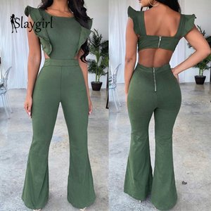 Slaygirl 2019 Sexy Rompers Womens Jumpsuit Ruffles Casual Long Jumpsuit Women Elegant Summer Female Party Jumpsuit Lady Overalls T191204