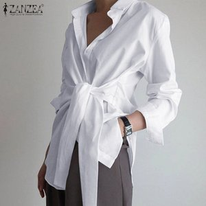 Fashion Women Long Sleeve Blouse ZANZEA Casual Lace Up Shirts Elegant Lapel Neck Asymmetric Tops Spring Blusas Femininas 7