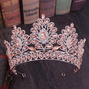 2019 New Vintage Baroque Tiara Couronnes Reine Roi Bride rose Crystal Crown Pageant Accessoires Bijoux mariage cheveux de mariée