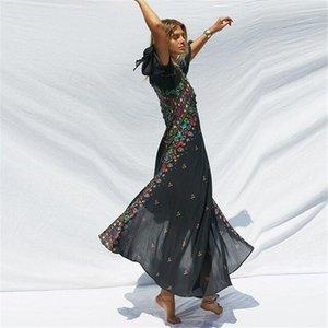 Flora Printed платья V-образный вырез Flare рукав Асимметричные Дизайнерская одежда Positioning печать богемского Apparel Womens лето