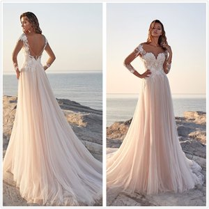 Champagne Lace A Line Bohemia Vestidos de casamento 2020 Mangas compridas Sheer Scoop Neck Tulle Backless Sweep Train Train Beach Wedding Bridal Dresses