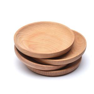Placa de madera redonda de madera natural bandeja de la porción del alimento del té Server platos de agua de la bebida bandejas Disco Diámetro 12 cm decorativo LX2459