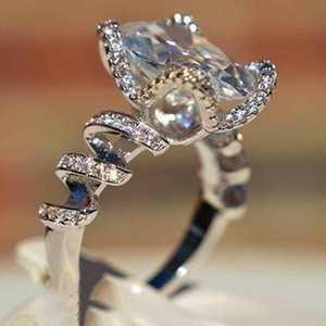Wish Hot Selling European And American E-Commerce Cross-Border Exclusive New Silver Diamond Twisted Zircon Square Ring