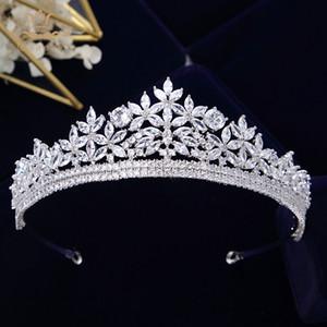 Cabelo Bavoen Top Quality Real Sparkling Zircon Brides Tiaras Crown Silver Cristal nupcial Hairbands Headpiece casamento Acessórios CJ191226