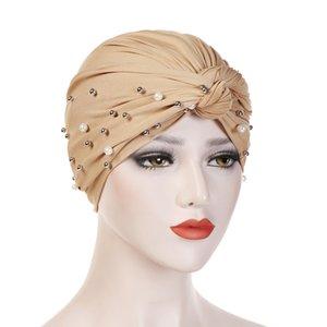 Muslim Turban Stretch Hut Braid Hijab Cap Kopf Wickeln Haar Milch Seidenperle Frauen Bandanas Mode-accessoires