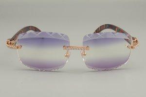 56-18-135mm Best-Selling Wooden Taille: Lunettes de soleil Gravure de couleur Diamant de luxe Modèle personnalisé 8300756-B Lunettes de soleil à lentilles, SJFX naturel
