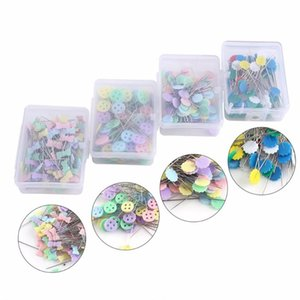 100Pcs / lot Seques Sewing Patchwork Pins Flower / Bow tack / Butt Pin Sewing With Box Tool Needle Arts DIY Crafts